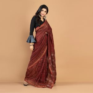 Ajrakh Silk Linen Saree