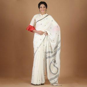Khadi Jamdani Saree Rare Weave By Villagers