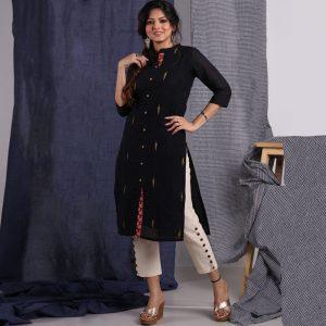 khadi Jamdani Long Kurta